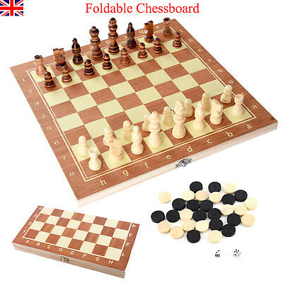 Folding Portable  Wooden Chess High Quality Wood Finish Chess Board Case Set UK