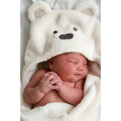 Baby Soft Sleep Blanket Infant Hooded Bathrobe Bath Towel Coral Fleece Wrap Robe