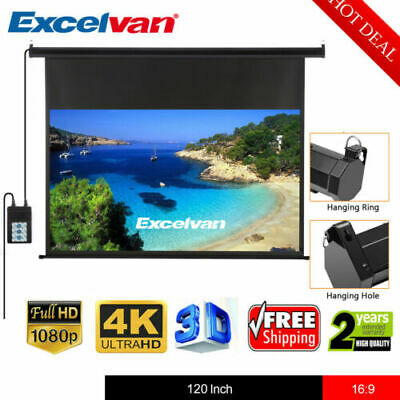 120-Inch Wall Ceiling Electric Motorized Projector Screen 3D 4K +Remote Control