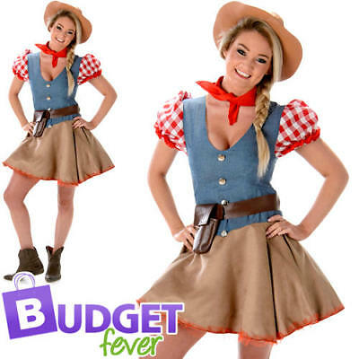 Wild West Cowgirl Ladies Fancy Dress Rodeo Texas Womens Adult Costume Outfit New