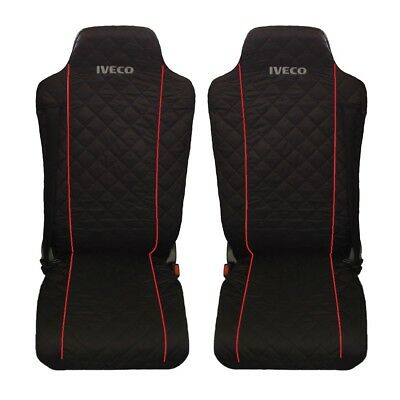 IVECO Stralis Truck Seat Covers RED piping 2 piece (1+1)