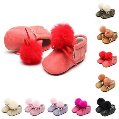 Newborn Baby Kid Girls Tassel Tie Hairball First Walkers Soft Sole Leather Shoes