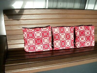 """1800s FARM HOUSE DECOR 3 WOOL RED/WHITE COVERLET PILLOWS 13""""X14"""" PORCH-SOFA-BED"""