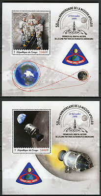 Congo 2018 MNH Apollo 8 50th Anniv Borman Lovell Anders 2x 1v S/S Space Stamps