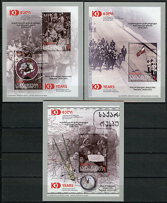 Georgia 2018 MNH First Democratic Republic 100 Yrs 4v on 3 M/S Flags Maps Stamps