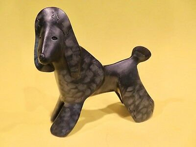 """Linda Pleet Dog Sculpture Poodle Hand Painted 5 1/2"""" Tall Signed Mint"""