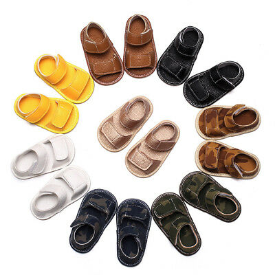 Newborn Infant Baby Girl Boy Leather Camouflage Sandals Summer Soft Flat Shoes L