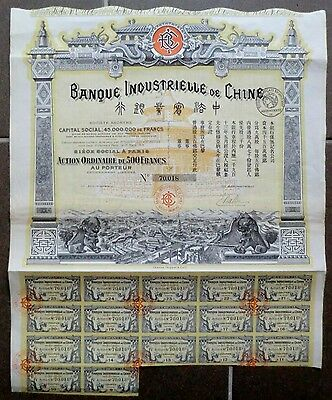 Banque Industrielle de Chine S.A. 1913 mit Coupons - uncancelled