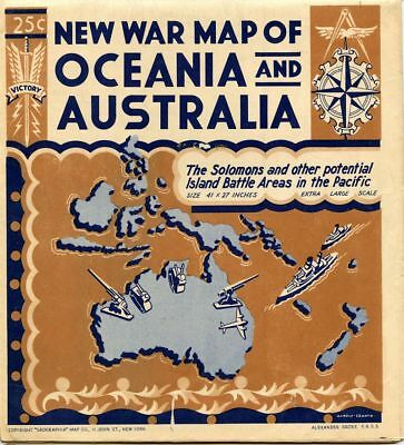 1942 New War Map Of Oceania And Australia Geographia Map Co. Alexander Gross