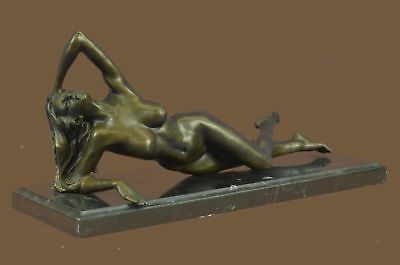 Bronze Sculpture Statue Nude Marble Base Figurine Art Noveau Girl Laying On Rock