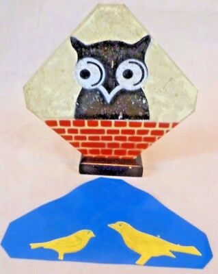 Vintage Magic - Conjuring Trick: Wooden & Plastic Owl/Wall Frame & Canaries