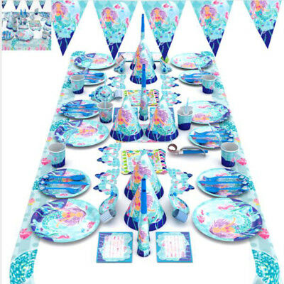 KK MERMAID Birthday Party Girls Decorations Kids Tableware Napkins Plate Cups