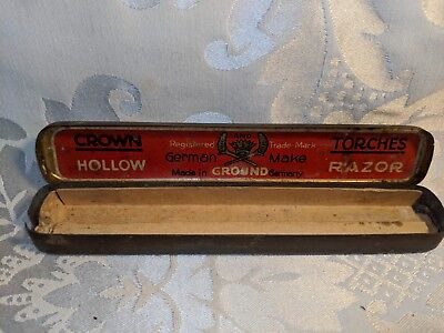 Antique Vintage Tin Box Crown And Torches Hollow Straight Razor Box Empty