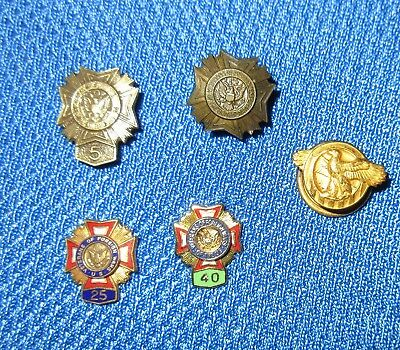 Vintage Veterans of Foreign Wars Pin back 5,25,40YR. & Eagle Button Hole