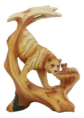 "Bengal Tiger Statue 7""Tall Faux Wood Resin Tiger Family Jungle Wildlife Scene"