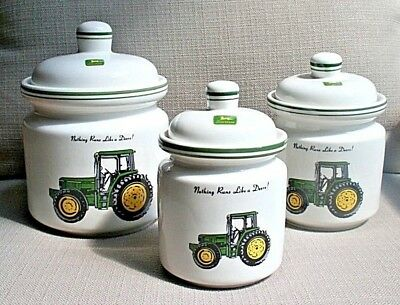 JOHN DEERE Tractor CANISTER Set of 3 Canisters ~ Gibson ~ Collectible