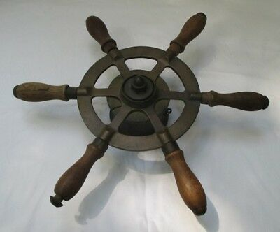 Nautical Steering Wheel Brass and Wood