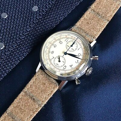Savile Row Collection: 20mm Vintage 'Sandy' Brown Fabric Leather Watch Strap