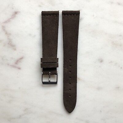 20mm Vintage Style Dark Brown Suede Leather Watch Strap Band Made in Italy