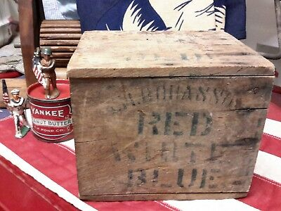 Antique Wooden Blue And White Patriotic Box Advertising Early1900s