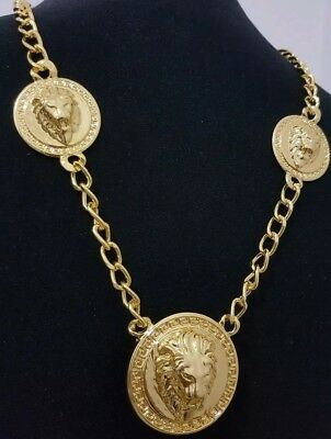 18ct Gold Plated Iced Oud MEN'S Lion Neclace Hip hop bling Bling Shing 24''