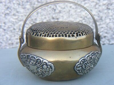 Antique Chinese Bronze Hand Warmer Mixed Metal Signed