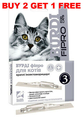 BURDI FIPRO Spot-On Flea & Tick treatment for Cats (3 tubes pipettes) Fiprotec