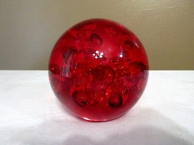 """Large Red Art Glass Crystal Ball Paper Weight Controlled Air Bubbles- 4-1/4"""" New"""