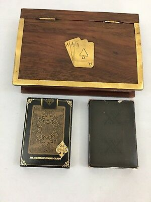 Playing Card Case Holder for Double Deck of Playing Cards Handmade Wooden+2 deck
