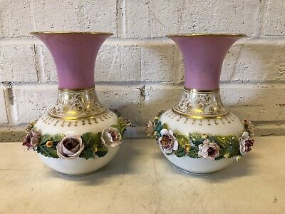 Vintage Possibly Antique Porcelain Manner of Old Paris Pair of Floral Rose Vases