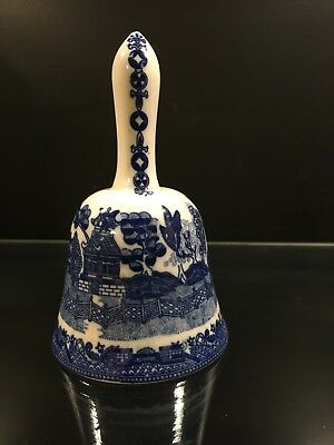 "5""Ceramic Porcelain Hand Bell in Blue and White with Japaneses Landscape Design"