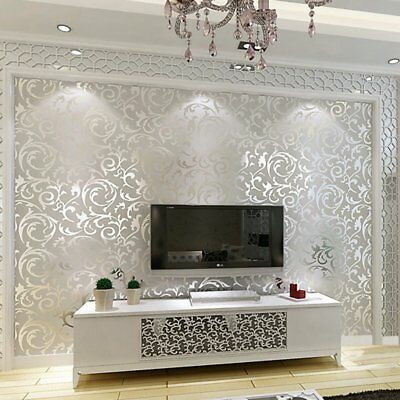3D Victorian Metallic Luxury Silver Damask Glitter Wallpaper Roll Washable 10M
