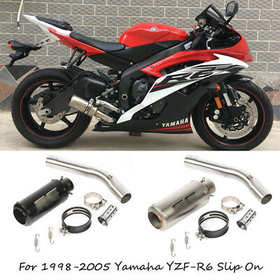 For 98-2005 Yamaha YZF-R6 Motorcycle Exhaust Pipe Slip On 51 mm Mid Tail Muffler