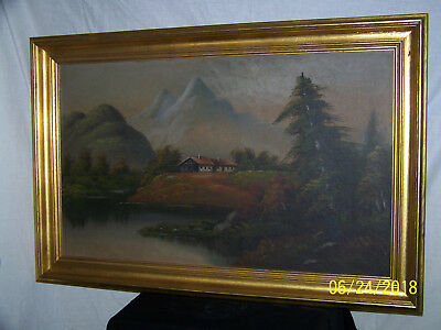 Vintage Original Oil Painting of Chateau Villa in The Mountains Large Painting