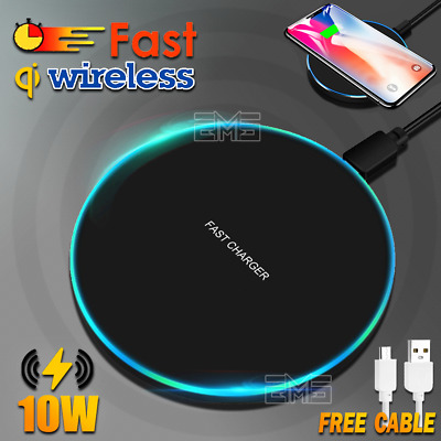 10W Qi Wireless Charging Charger Pad iPhone 11 Pro XS Max XR Samsung S8 S9 S10+