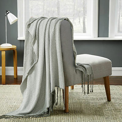 AU Cotton Knitted Blanket Super Soft Tassel Sleeping Rug Throw Rug Sofa Decor