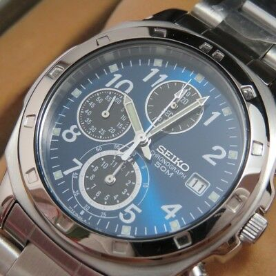 SEIKO SND193P Chronograph Stainless Steel Blue Men's Watch New