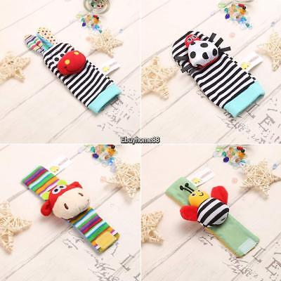 New Baby Infant Kids Cartoon Animal Shape Hand Wrist Bells Foot Sock EHE8
