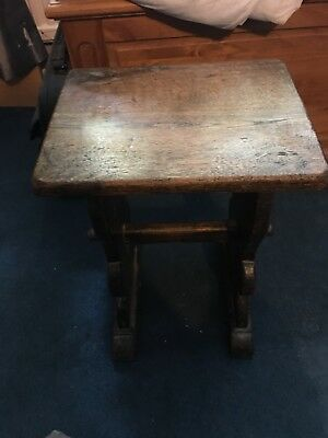 Antique Solid Oak Small Stool