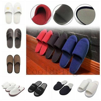 Unisex Mens Womens Hotel Home Indoor Slippers Flats Warm Open Toe Shoes 14Styles