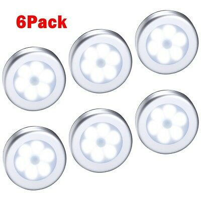 6LED Light PIR Wireless Auto Sensor Motion Detector Lamp Wall Cabinet Night NEW