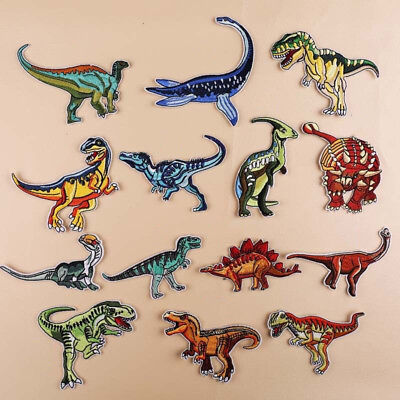 14 Shapes Dinosaur Embroidery Patch Iron On Sew On Badge Clothes Fabric Applique