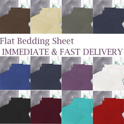 Luxuy Plain Dyed Flat Sheet Poly-Cotton Bed Sheets Single, Double & King Size UK