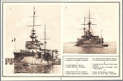 1915 Print WW I Photos Battleships English Irresistible French Bouvel