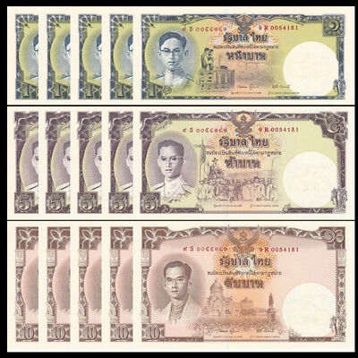 Lot 5 PCS, Thailand 1 5 10 Baht, ND 2007, P-117, COMM., uncut set, UNC