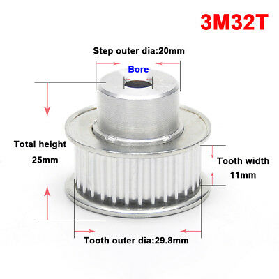 3M32T Pitch 3mm Tooth Width 11mm Synchronous Wheel Aluminium Timing Belt Pulley