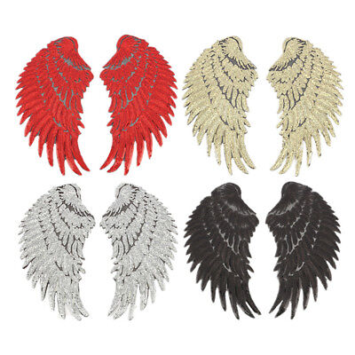 1pair wings angel sequins iron-on embroidered patch applique craft diy