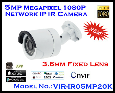 5MP IP IR Camera / H.265 / H.264 / MJEPG / 20m / RS485 / POE / 3.6mm Fixed Lens