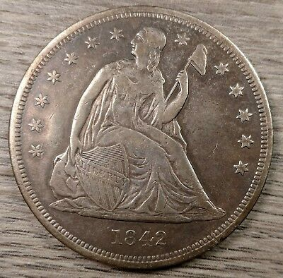 1842 Seated Liberty Silver Dollar VF Details