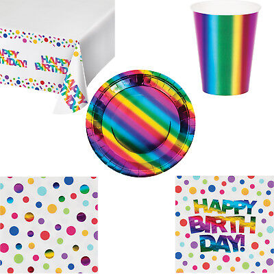 Rainbow Confetti Foil Birthday Party Tableware Tablecover Plates Cups Napkins